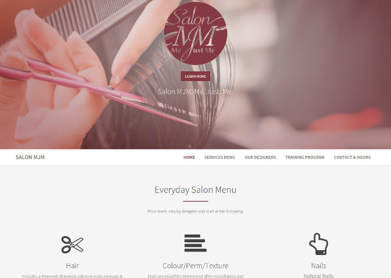 Salon MJM Responsive Web Design by Berson3 Computers